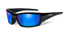 Wiley X Tide in Gloss-Black & Polarized Blue Mirror Lens