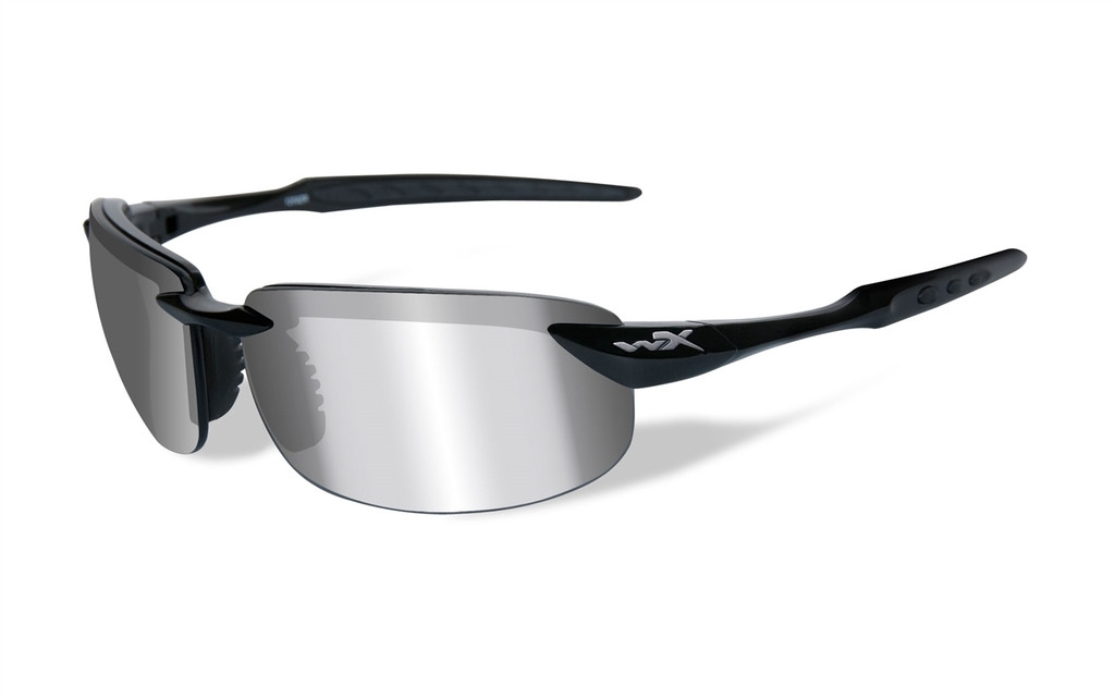 b356725a3193 Wiley X Tobi in Gloss-Black   Polarized Silver Flash Lens. Image 1. Loading  zoom