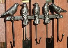 THE BIRDS cast iron five hook coat rack