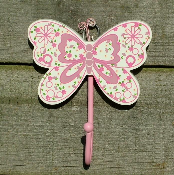 Beautiful Pink Butterfly Childrens Coat Hook Lovehooks