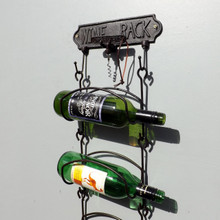 Cast Iron 6 Bottle Wall Wine Rack