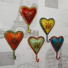 Set of 5 hand Painted HEART Coat Hooks