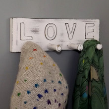 LOVE Four Turned Peg hook Coat Rack in the Shabby Chic Style