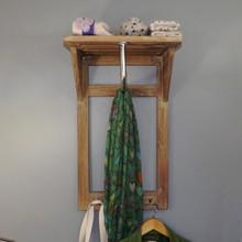 Hall Teak Shelf Rack and Rail with three Double Coat Hooks