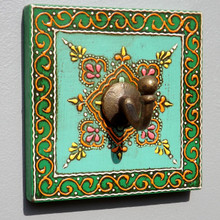 hand Painted Square Plaque Coat Hook, greens
