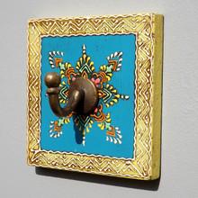 Hand Painted Square Plaque Coat Hook, Blue Centre