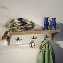 Teak Cream Painted Shelf Coat rack