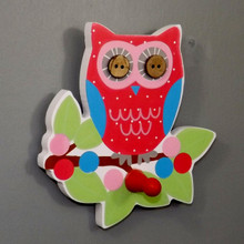 Bright Coloured Owl in a Tree Coat Hook with red peg hook