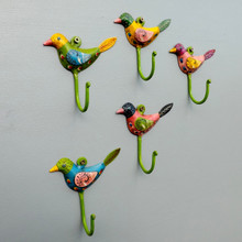 Hand Painted Set of five Song Birds Coat Hooks