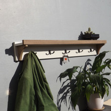 Teak Cream Painted Shelf Coat rack with five double hooks