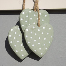 Sage green Hanging Hearts with White painted Dots