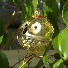 Glitter Gold Owl Hanging Christmas Bauble