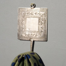 Etched engraved silver metal Coat Hook