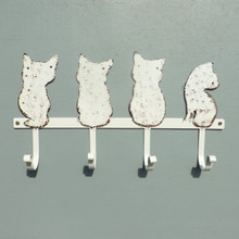 Four White Cats Coat Rack