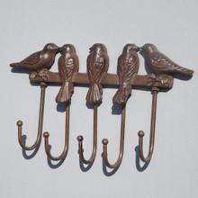 Cast Iron rack of 5 Hooks, Birds