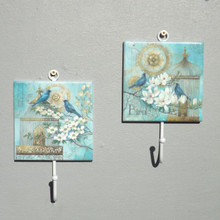 Pair of blue Birds Coat Hooks