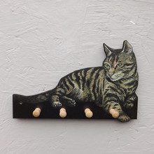 Tabby Cat Key Holder Rack