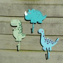 Set of three Dinosaur Childrens Coat Hooks