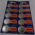 Sony CR2016 3V Lithium Coin Battery - 10 Pack + FREE SHIPPING