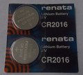 Renata CR2016 3V Lithium Coin Battery - 2 Pack + FREE SHIPPING!
