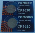 Renata CR1620 3V Lithium Coin Battery - 2 Pack + FREE SHIPPING!