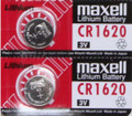 Maxell CR1620 3V Lithium Coin Battery 2 Pack -  FREE SHIPPING!