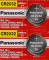 Panasonic CR2032 3V Lithium Coin Battery - 2 Pack + FREE SHIPPING!