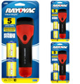 Rayovac Value Bright 5 LED 2D Rubber Flashlight with 2 D Batteries - 3 Pack + FREE SHIPPING!