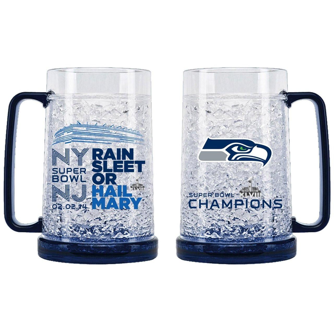 42e53578 Seattle Seahawks Super Bowl XLVIII Champions Crystal Freezer Mug