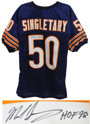 Mike Singletary Signed Navy Custom Throwback Chicago Bears Jersey w/HOF'98 - PSA/DNA