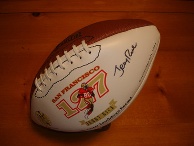 Autographed Jerry Rice San Francisco 49ers Signature Wilson Football w/ Stand
