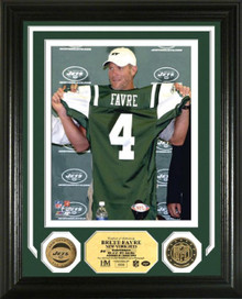 "Brett Favre NY Jets ""Press Conference"" 24KT Gold Coin Photo Mint"