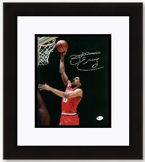 """Julius """"Dr J"""" Erving Autographed Philadelphia 76ers 8x10 Action Photo - Red Jersey- Custom Framed"""