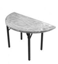 Southern Aluminum SA72HRPIF Swirl Half Round Table With Individual Folding  Legs 72 Inch