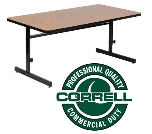 Correll CSA3048 High Pressure Laminate Top Computer And Training Table 30 W  X 48 L Adjustable
