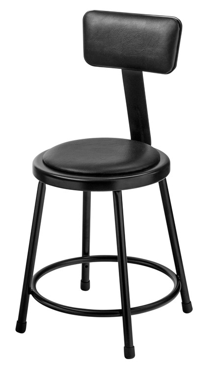 national public seating 6418b 10 round stool with black padded seat and backrest 18 inch - National Public Seating