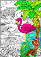 Flamingos - 10x14 Coloring Poster