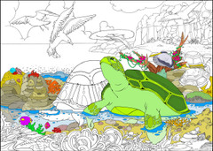 Turtle Beach - 10x14 Coloring Poster