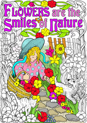 Flower Smiles - 10x14 Coloring Poster