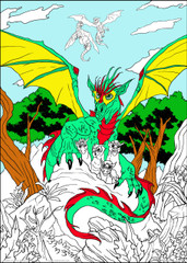 Dragon Babies - 10x14 Coloring Poster