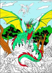 Dragon Babies - 10x14 Coloring Poster