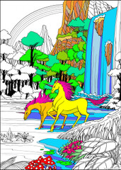 Unicorn Waterfall - 10x14 Coloring Poster