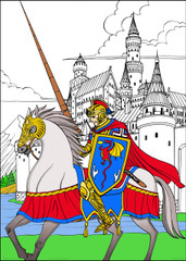Knight- 10x14 Coloring Poster