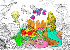 Mermaid - 10x14 Coloring Poster
