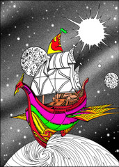 Skyship - 10x14 Coloring Poster