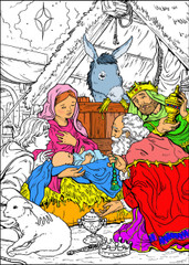 Nativity - 10x14 Coloring Poster