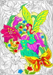 Flower Fairy - 10x14 Coloring Poster