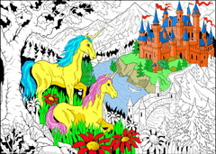 Castle Unicorns - 10x14 Coloring Poster