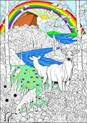 Noah's Ark - 10x14 Coloring Poster