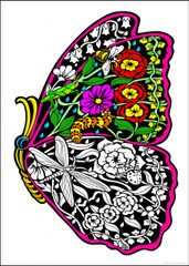 Flower Butterfly - 10x14 Coloring Poster